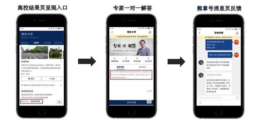 中国教育在线熊掌号展现、咨询、反馈页面