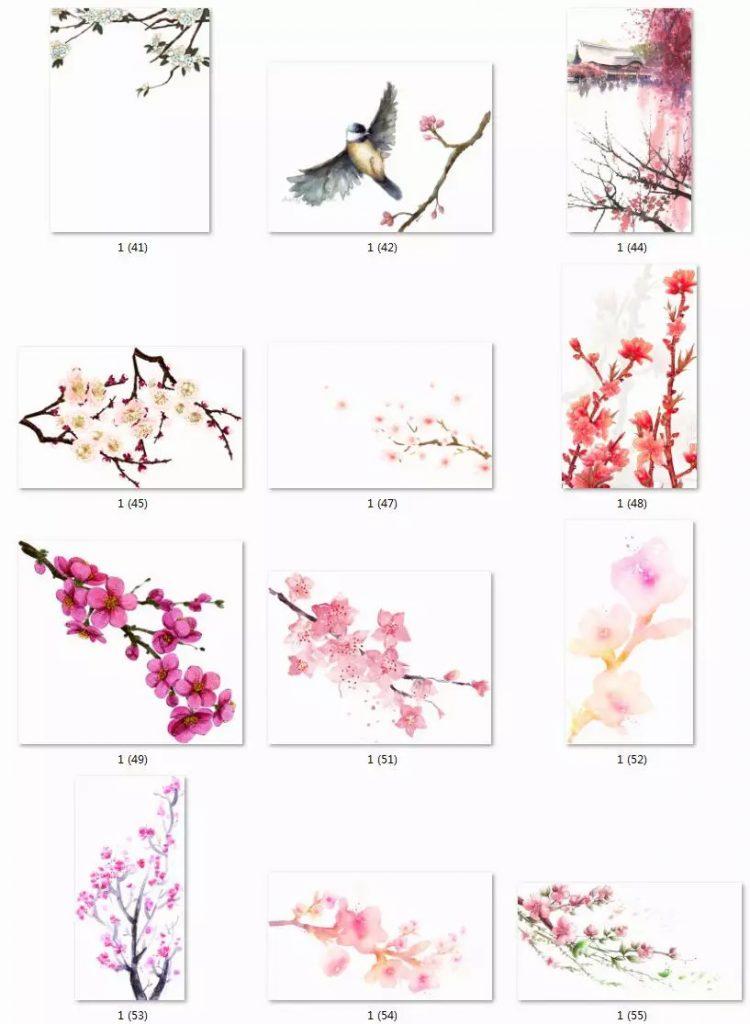 【PSD素材下载】唯美桃花水墨中国风,古风手绘水彩花朵枝叶png透明免抠素材
