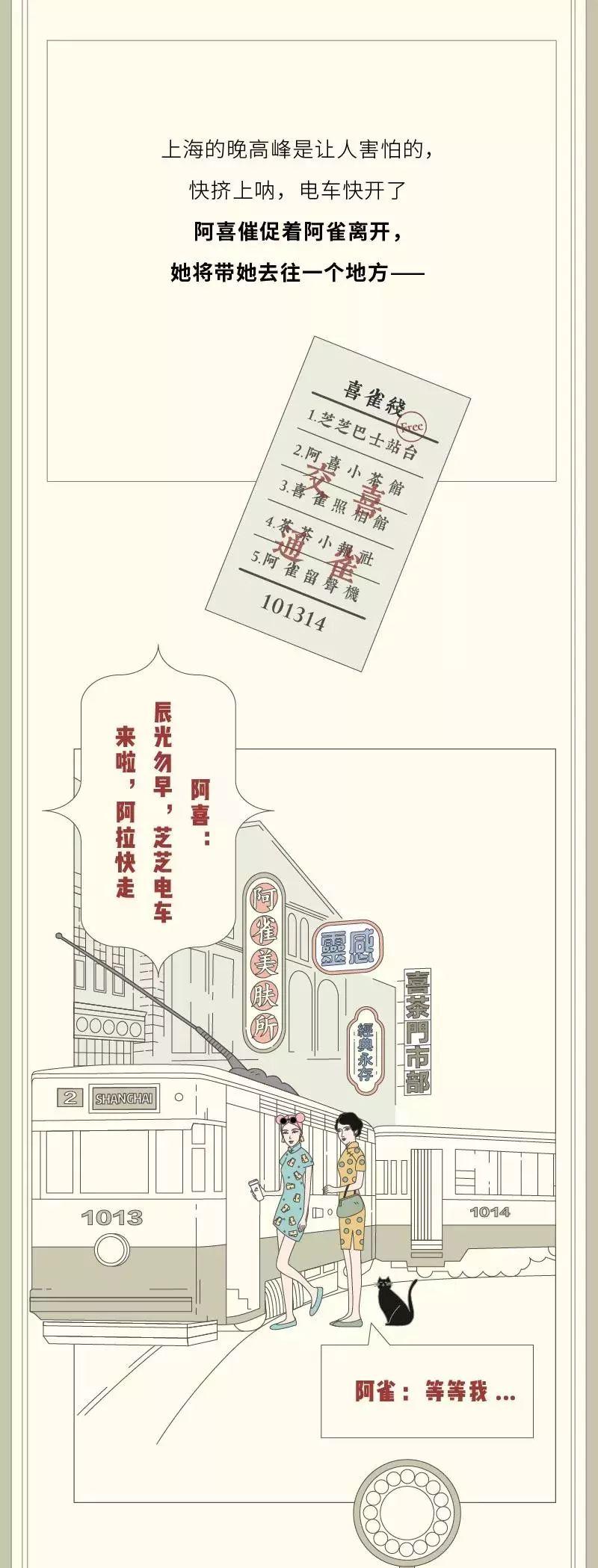 喜茶x百雀羚出长图:看喜雀姐妹如何玩遍老上海