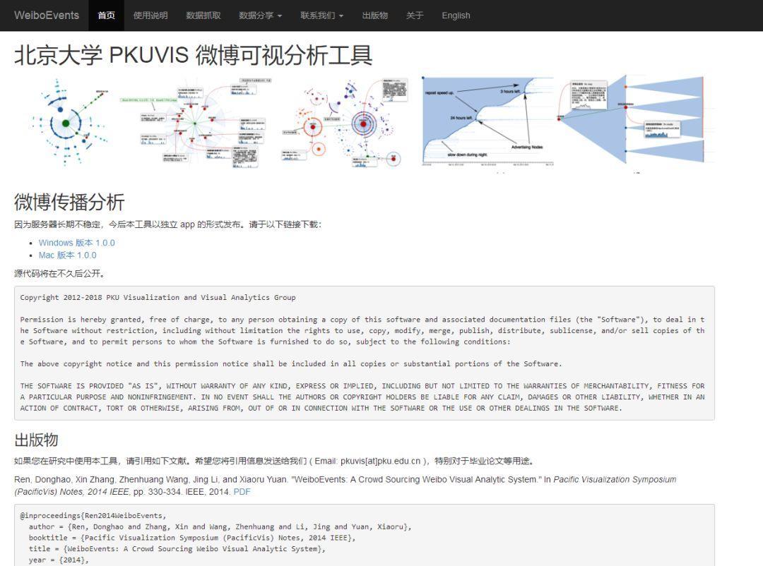 5.北大PKUVIS微博数据可视化分析  http://vis.pku.edu.cn/weibova/weiboevents/